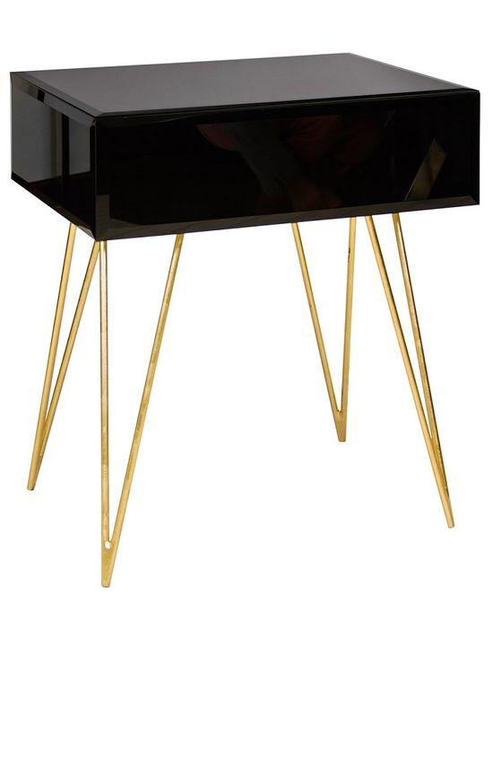 Nightstands, Elegant Black Glass Gold Leaf Hairpin Legged Bedside Table.