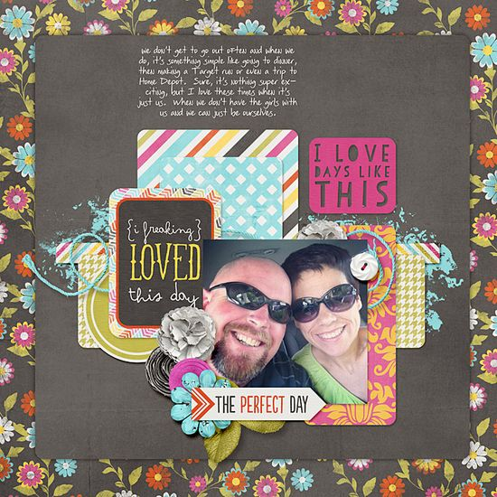 i love days like this - Scrapbook.com- love the solid to tone down the patterned paper.