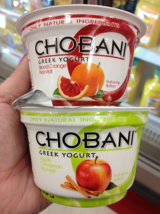 the apple cinnamon chobani yogurt is great. It is an excellent base for pancakes...mixed with coconut flour (1T) ground oats (3T) egg (1) baking soda (1/2tsp) with cinnamon