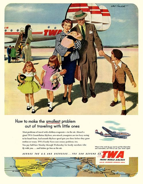 TWA keeps the whole family happy. #vintage #1950s #airline #travel #ads