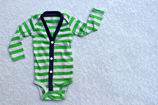 Green + Gray Stripe Long Sleeve Cardigan Onesie