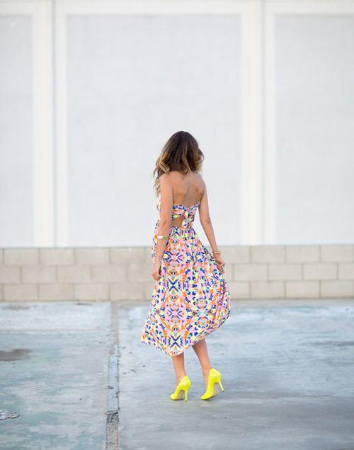 neon heels + printed maxi