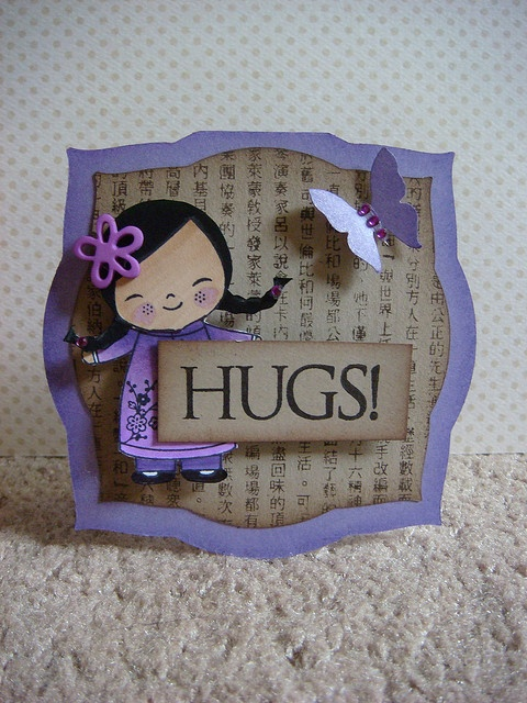 Nestabilities label die cut shaped card ... Asian doll image ... adorable ... HUGS! by donna mikasa, via Flickr