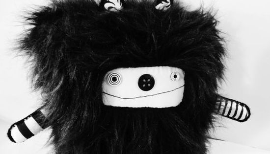 Plush OOAK Art Doll Plushie Black and White Faux Fur Modern Handmade - polkadottydoll - FREE SHiPPiNG (Canada & US)