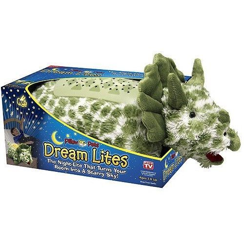 New Dream Lites Green Triceratops Dinosaur Pillow Pets Boys Gift Toys Stars 11""