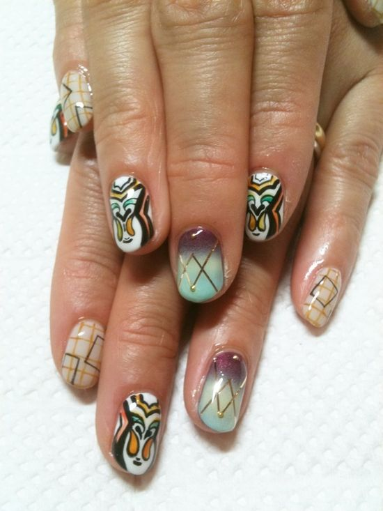 disco nails inspired by etro
