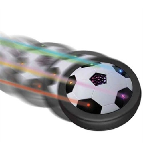 Light-Up Air Power Soccer Disk glides on a cushion of air and hovers over any smooth surface, from low-pile carpets to the driveway
