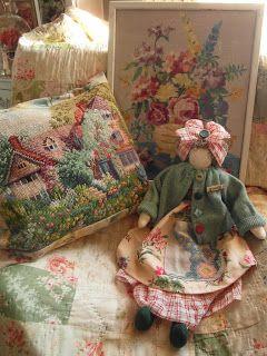 handmade doll - dressed in vintage fabrics