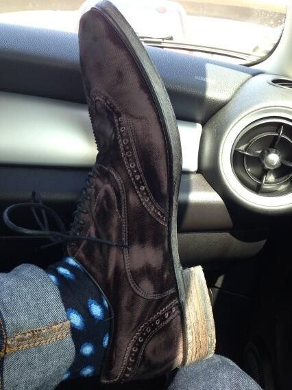 My Burgundy / Brown velvet shoes from #myfashionicon John Varvatos ~ my shoe size? 13 (46 Euro)...