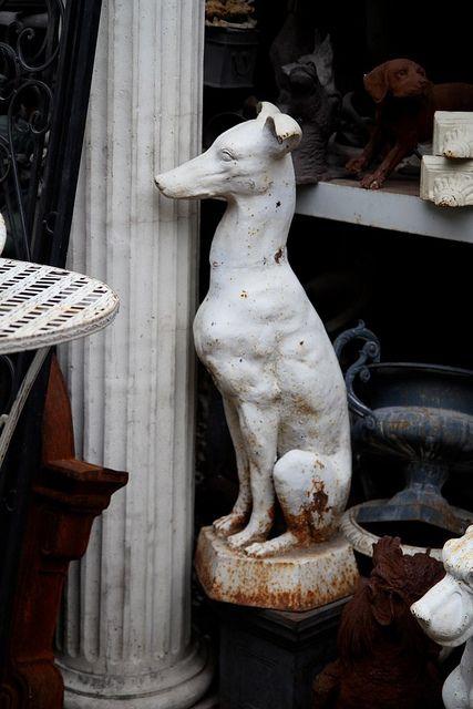 whippet/greyhound statue.