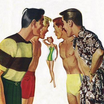 Young men admiring woman in bathing suit