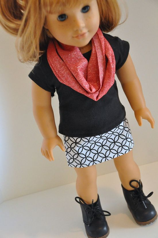 American Girl Doll Clothes Black and White Geometric Print Mini Skirt with Black T-shirt and Red Infinity Scarf 18 inch
