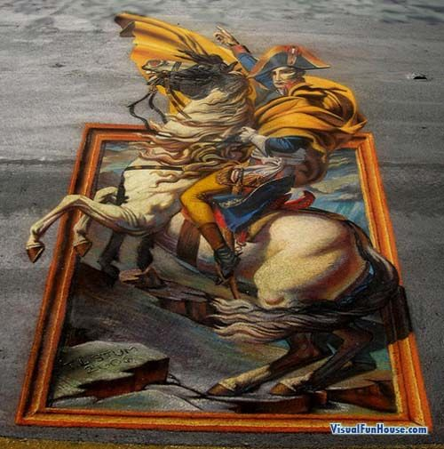3d illusion chalk street art...fine art escapes the frame