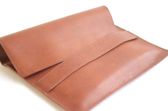 Leather Sleeve Case in Cognac by VellePurse on Etsy, $60.00