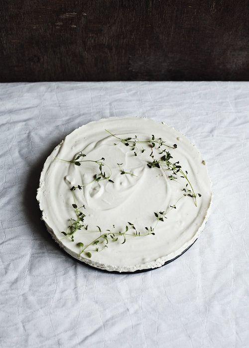 Yogurt Cake Decorated with Fresh Thyme