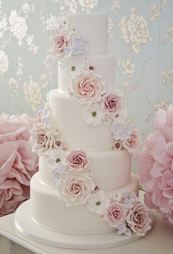 Falling flowers wedding cake