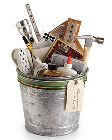 Housewarming bucket  --  this would be great in vintage buckets or even a beach bucket for the kids.....