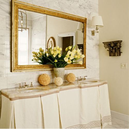 bathroom--love the skirted vanity