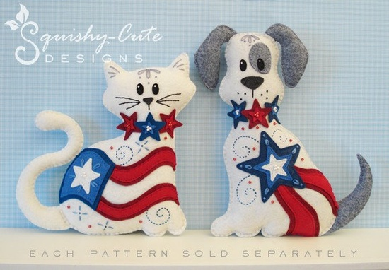 Stuffed Animal Pattern - Felt Plushie Sewing Pattern & Tutorial - Liberty the Patriotic 4th of July Dog - Patriotic Embroidery Pattern PDF. $5.00, via Etsy.