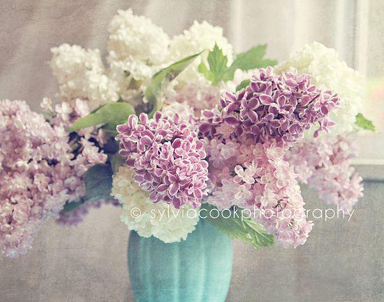 Shabby chic lilacs-fine art photographic print-still life-purple-white-aqua-shabby chic home decor. by VintageChicImages via Etsy. #fpoe