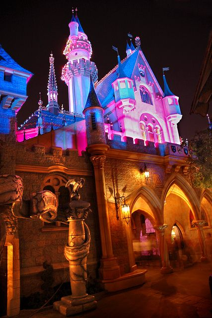 Sleeping Beauty Castle at night.