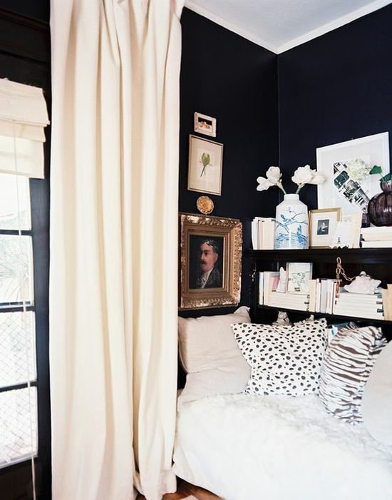 black walls with light furniture