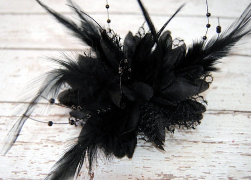 black feather hair accessory