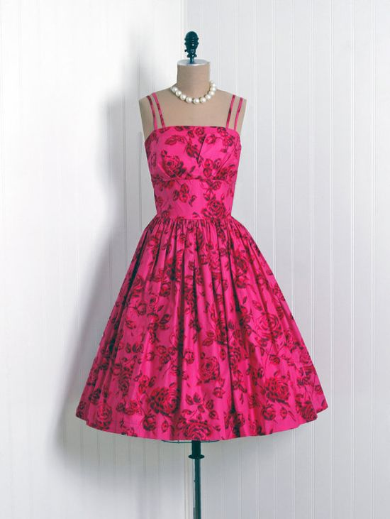 I have such a crush on double strap vintage summer dresses (like this eye-catchingly pretty pink one) right now. #pink #summer #sundress #vintage #dress #clothing #fashion #1950s #fifties #50s