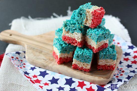 4th of July layered Krispies treats