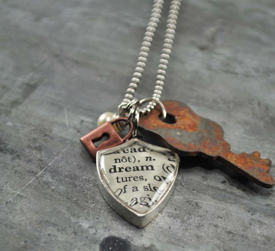 Vintage Dictionary Word Necklace Pendant DREAM made by www.kraftykash.net $24.00 #handmade #jewelry