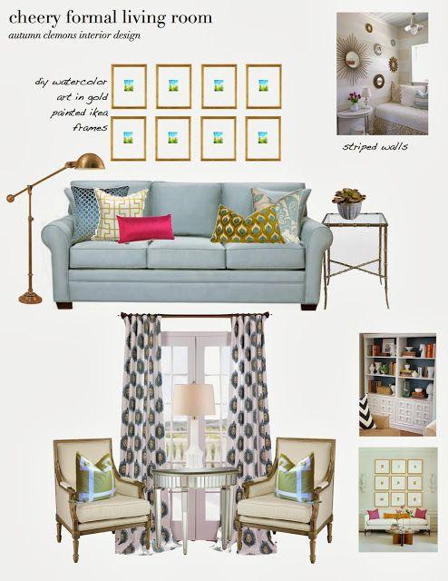 cheery formal living room design board