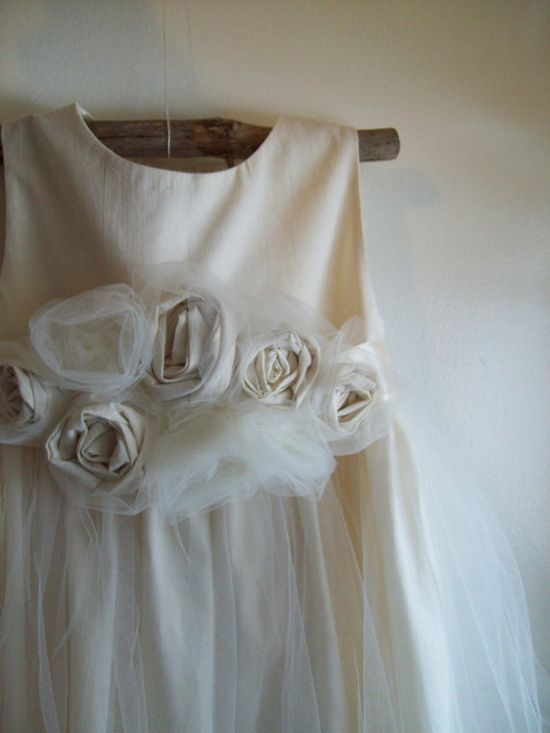 Flower girl dress... Dew on Roses ... Natural Cotton 2T-5 -$109.00