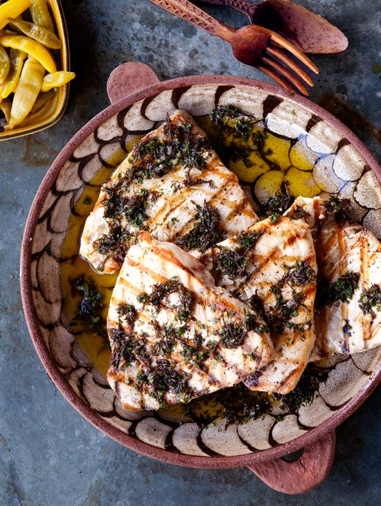 "Swordfish with Seaweed Salsa Verde by bonappetit: combining the herbs for the salsa verde with seaweed really gives this dish ""that fresh-from-the-sea flavor.""(Dried seaweed, hijiki is widely available.) #Sword_Fish #Salsa #Verde"