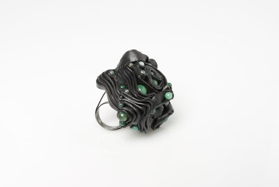 "Anes Kim - ring ""An Emerging Creature is a project that is interested in invigorating jade through the use of leather in a contemporary way and with a wild combination of materials. """