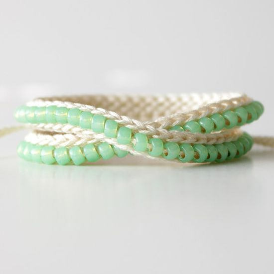 Beaded Wrap Bracelet Off White and Sea Foam by itsmemary, $21.00