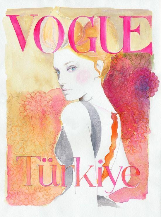 Watercolor Fashion Illustration-Vogue Cover, Turkey
