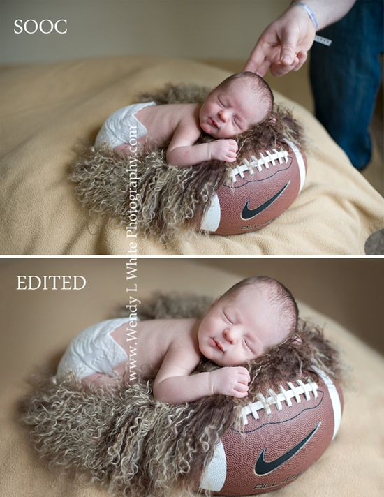 My future baby boy will have a photo like this! #football #newborn photography