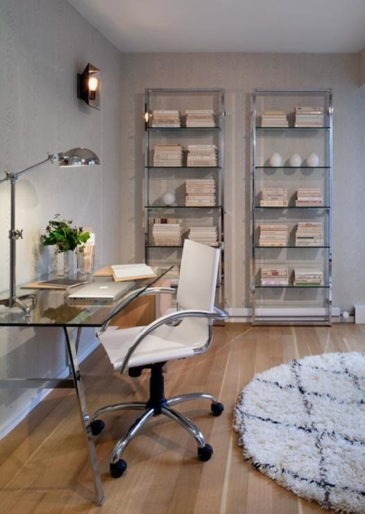 Haus Interior - Modern office design with gray textured walls, modern open bookcases.   Like this for all except glass surfaces. Maybe a shelf or two above the desk & perfection would be close !