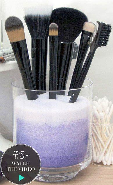 DIY Ombre makeup brush holder