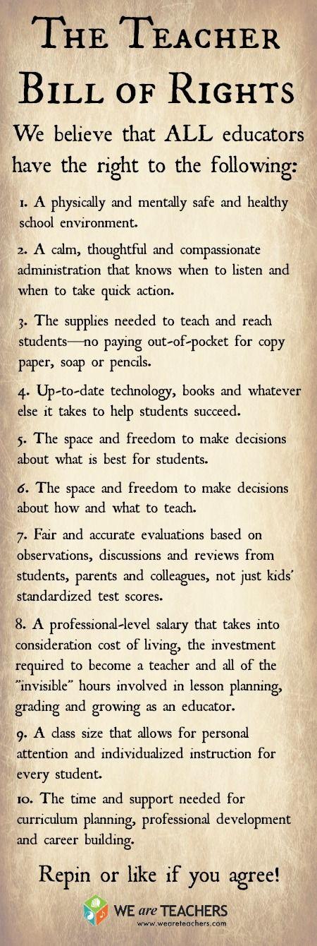 The Teacher Bill of Rights :)