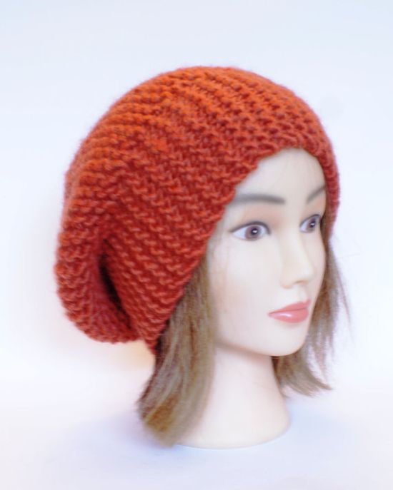 Beret style slouch hat burnt orange slouchy beanies by Johannahats, $35.00