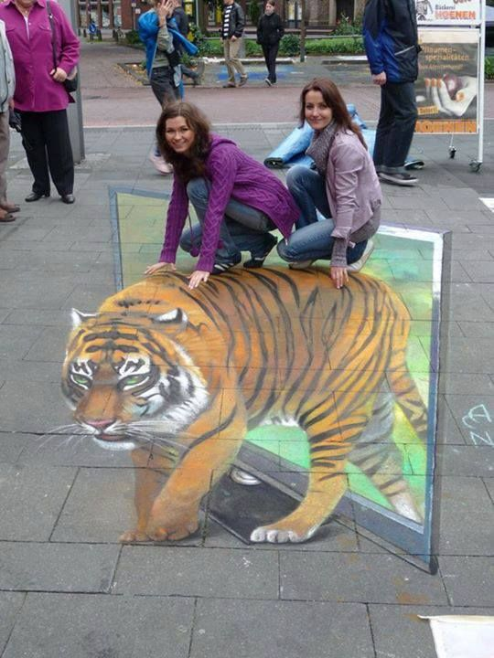 chalk art..... tigers are awesome!!!!!!!!