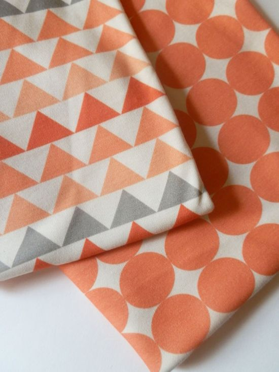 Baby Blanket Geometric Triangles Coral Peach by littlehipsqueaks, $44.80