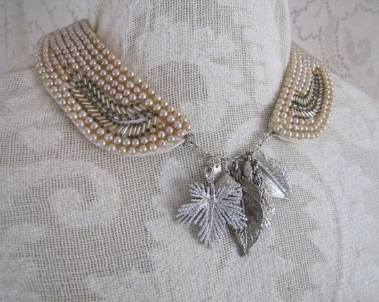 A New Leaf- repurposed vintage jewelry- One-of-a-Kind