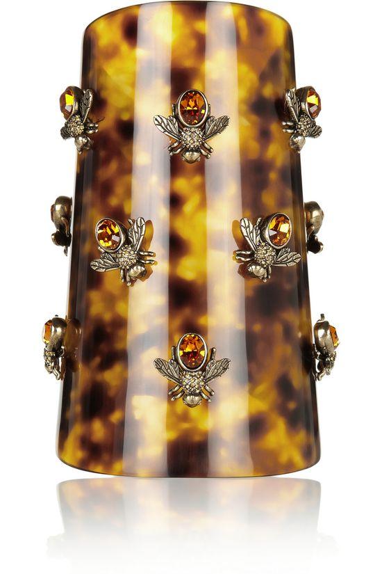 ALEXANDER MCQUEEN Bee-embellished Swarovski crystal plexiglass cuff