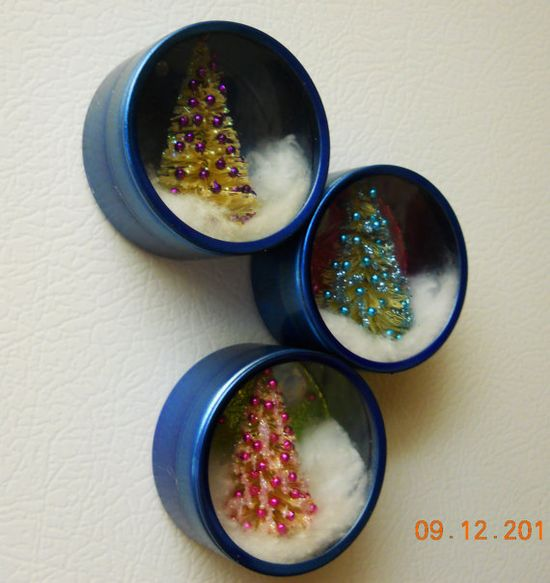 Christmas Tree Picture Tin Magnets, easy to make with brush bottle trees, beads, and cotton balls