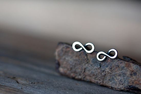 Tiny Infinity Earrings  Small modern everyday by CookOnStrike, $15.00