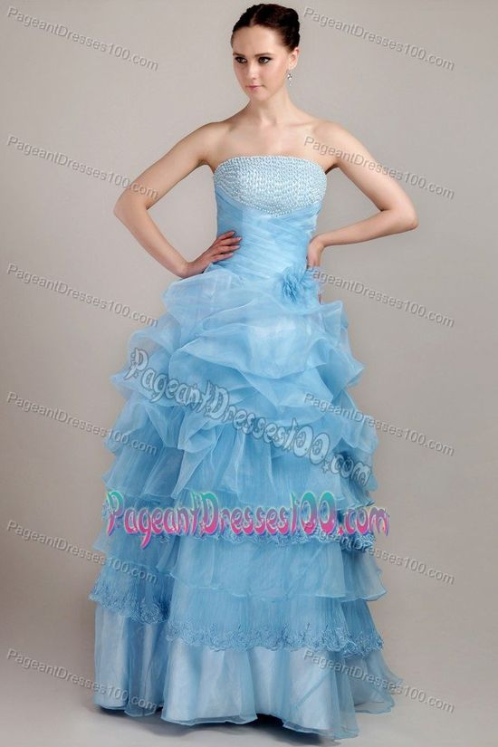 Pick Up Strapless Beading Handmade Flower Ruche Pageant Gown