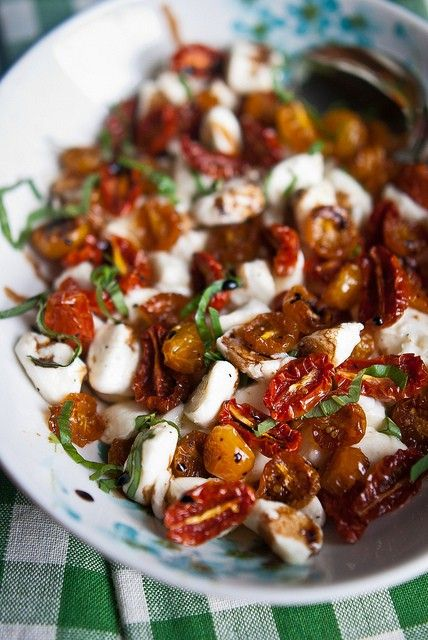 Slow Roasted Tomato Caprese Salad with Balsamic Glaze