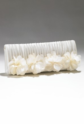 Handbags - Satin Pleated Handbag with 4 Flowers from Camille La Vie and Group USA